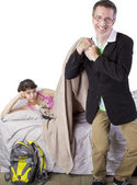 Father waking up lazy daughter for school — Stock Photo
