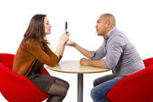 Woman ignoring boring date — Stock Photo