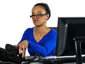 Office girl working on a computer — Foto Stock