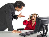 Secretary ignoring her boss — Stock Photo