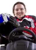 Female race car driver — Stock Photo