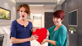 Two friends become rivals on Valentines Day — Stock Photo