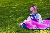Toddler wearing traditional Korean Hanbok — Stock Photo
