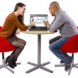 Couple matched up via online dating — Stock Photo