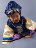 Korean baby boy in traditional costume — Stock Photo