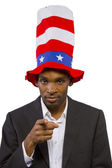 "Man playing as ""Uncle Sam"" American Mascot — Stock Photo"
