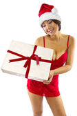 Asian female receiving gift — Stock Photo