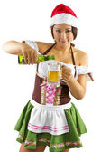 Female bartender pouring beer into glass — Stock Photo