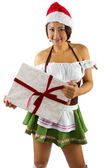 Asian female with gift — Stock Photo