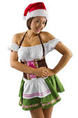 Female waitress dressed in elf costume — Stock Photo