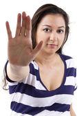 Woman gesturing stop — Stock Photo