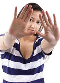 Woman gesturing stop — Stock Photo