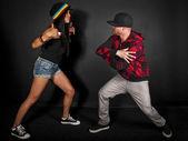 Hip hop dance partners posing — Stock Photo