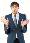 Businessman with mocking gesture — Stockfoto