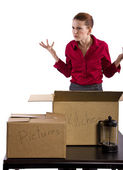 Woman stressed out and packing stuff — Stock Photo