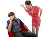 Woman overwhelming her boyfriend — Stock Photo