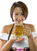 Female waitress in octoberfest costume — Stock Photo