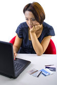 Woman frustrated, accounts are overdrawn — Stock Photo