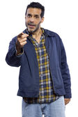 Casual dressed man pointing — Stock Photo