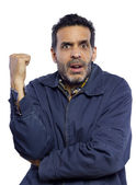 Confused male pointing backwards — Stock Photo