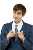 Businessman pointing at viewer — Stock Photo