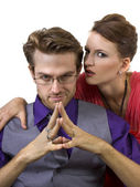 Manipulative male leading on girlfriend — Stock Photo