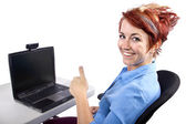 Woman working on computer — Stock Photo