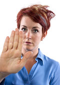 Woman holding out her palm — Stock Photo