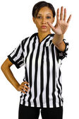 Female referee with hand gestures — Stock Photo