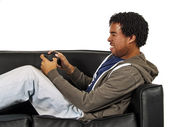 Man is playing video game — Stock Photo