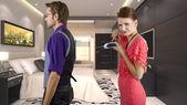 Woman controlling her boyfriend — Stock Photo