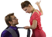 Male getting slapped by girlfriend — Stockfoto