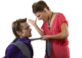 Male getting slapped by girlfriend — Stock fotografie