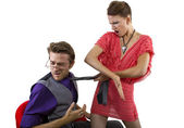 Male getting slapped by girlfriend — Foto Stock