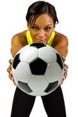 Black female with soccer ball — Stock Photo