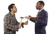 Blue collar worker vs professional — Stock Photo