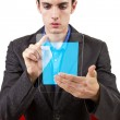 Male browsing on hi-tech tablet — Foto Stock