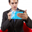 Male browsing on hi-tech tablet — Stockfoto
