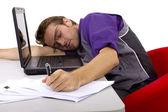 Worker falls asleep near laptop — Stock Photo