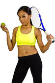 Female tennis player with racquet — Stock Photo