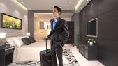 Hombre de negocios viaja con equipaje — Foto de Stock