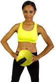 Female athlete with yellow volleyball — Stock Photo