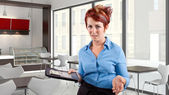 Waitress fed up with job — Stock Photo