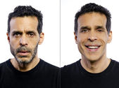 Man before and after being groomed — Stock Photo