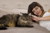 Cat is on a teenage girl's bed — Stock Photo