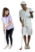 Golf instructor with a teenager student — Stock Photo