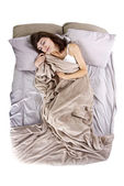 Female having abdominal cramps in the morning — Stock Photo