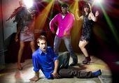 Caucasian man falls in dance club — Stock Photo