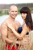 Romantic young couple on nature — Stock fotografie