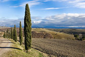 Tuscan landscape in winter, Val d'Orcia (Italy). — Stock Photo